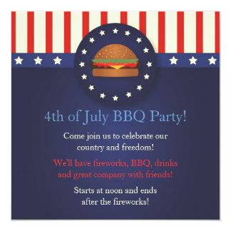 Bbq 4to de las invitaciones del fiesta de julio invitación 13,3 cm x 13,3cm