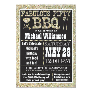 "BBQ 50th Birthday Party Invitation 5"" X 7"" Invitation Card"