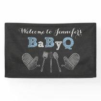 BBQ Baby Shower Banner Blue