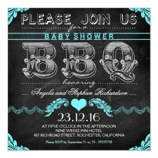 BBQ baby shower black chalkboard boy invites