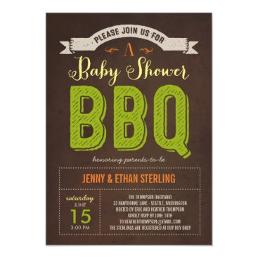 Toddler & Baby themed BBQ Baby Shower Invitation - Lime