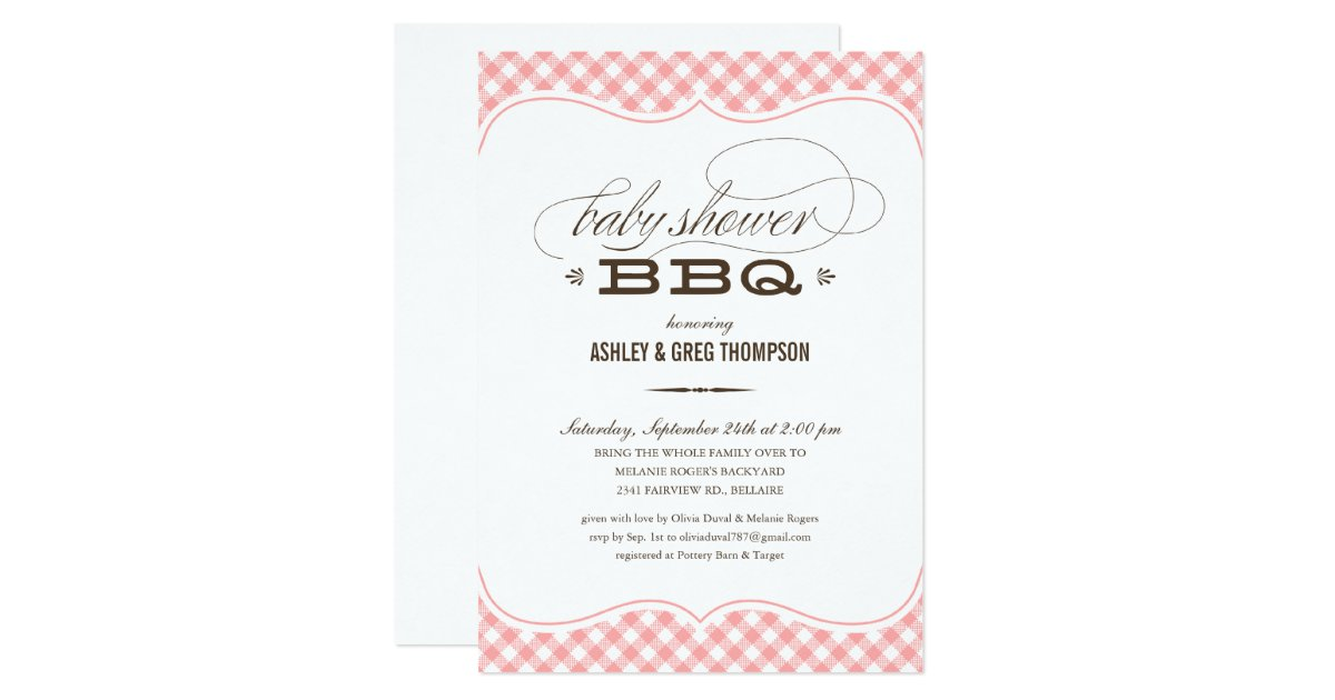 bbq baby shower invitations pink table cloth zazzle