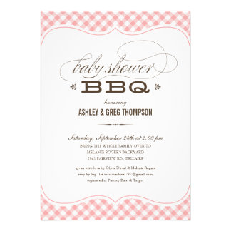 BBQ Baby Shower Invitations - Pink Table Cloth