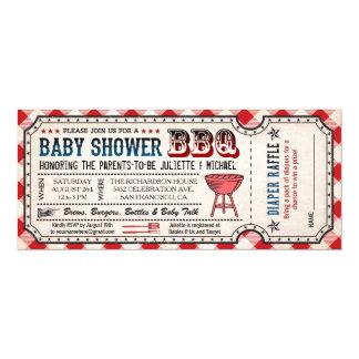 BBQ Baby Shower Ticket Diaper Raffle Invitations