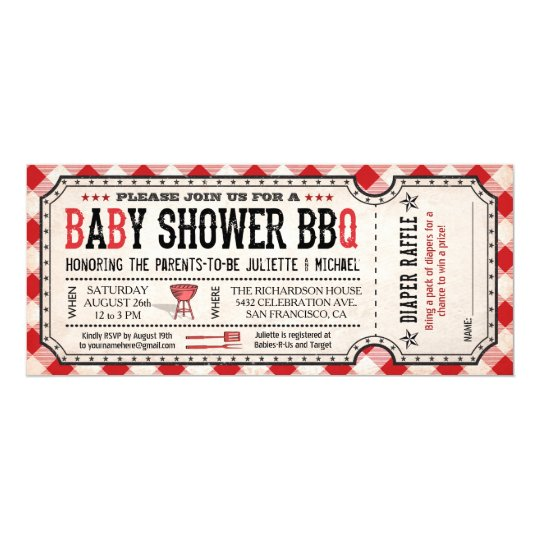 Bbq Baby Shower Ticket Diaper Raffle Invitations Zazzle