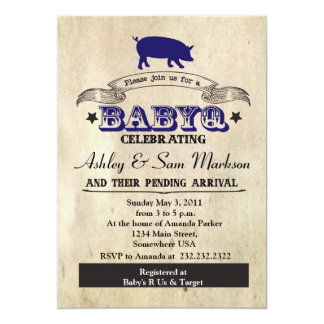 BBQ BABYQ Barbecue Blue Boy 5x7 Paper Invitation Card
