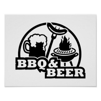 BBQ barbecue beer Print