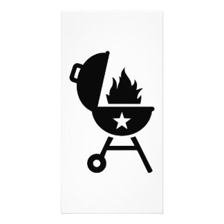BBQ barbecue fire Custom Photo Card