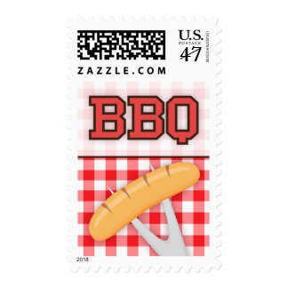 BBQ barbecue party invitation postage stamps