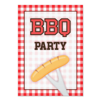 BBQ barbecue party invitation with sausage