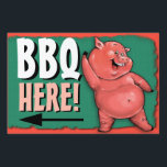 """BBQ. Barbecue. Pig roast. Party. Customizable Yard Sign<br><div class=""""desc"""">Having your annual pig roast soon? This 2-sided lawn or window sign is a fabulously piggy way to announce and direct your friends and family to the big event. All elements of the design, including art placement, text and background color are customizable to suit your personal style and needs. Available...</div>"""