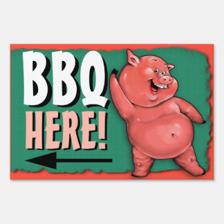 BBQ. Barbecue. Pig roast. Party. Customizable Yard Sign