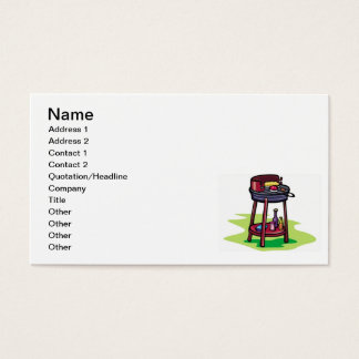 BBQ barbeque cooking cartoon summer foods dinner Business Card