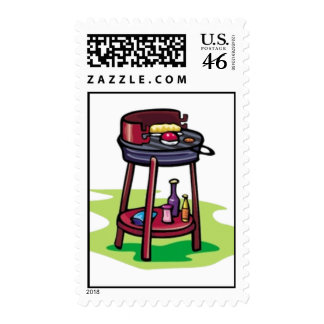 BBQ barbeque cooking cartoon summer foods dinner Stamp
