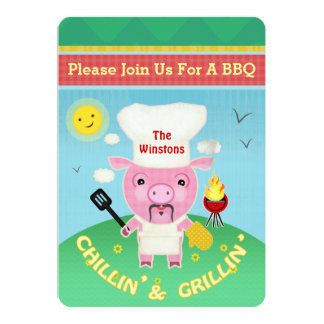 BBQ Barbeque Pig Roast Party Invitation