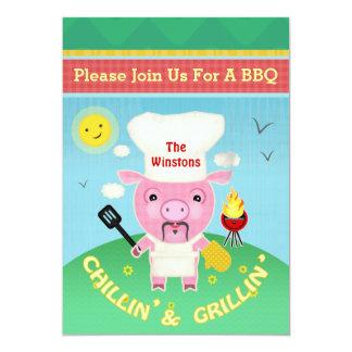 BBQ Barbeque Summer Pig Roast Party Invitation