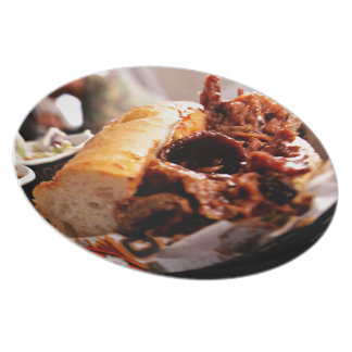 BBQ Beef Brisket Sandwich Melamine Plate