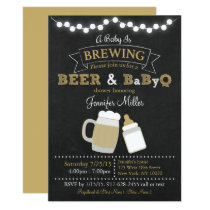 BBQ Beer Baby Is Brewing Baby Shower Card