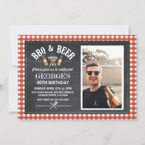 BBQ  Beer Birthday Party Photo Cheers Invitation