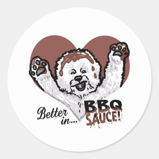 BBQ Bichon Frise Classic Round Sticker