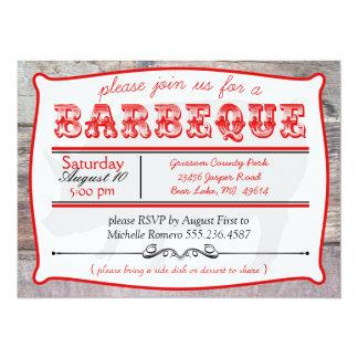 BBQ Big Pig Barbeque Party Invitations