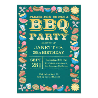 BBQ Birthday Party Theme Barbecue Card