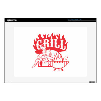 BBQ Chef Carry Gator Grill Retro Laptop Decals