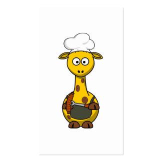 BBQ Chef Giraffe Cartoon Business Cards