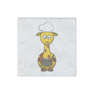 BBQ Chef Giraffe Cartoon Stone Magnet