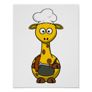 BBQ Chef Giraffe Cartoon Poster