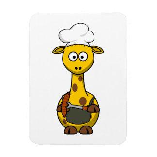 BBQ Chef Giraffe Cartoon Magnets