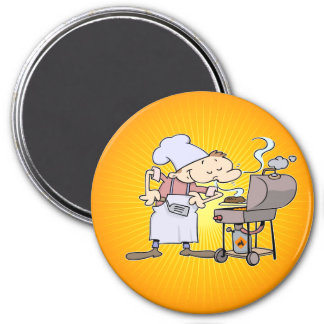 BBQ chef grilling burgers 3 Inch Round Magnet