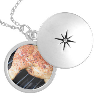 BBQ Chicken Round Locket Necklace