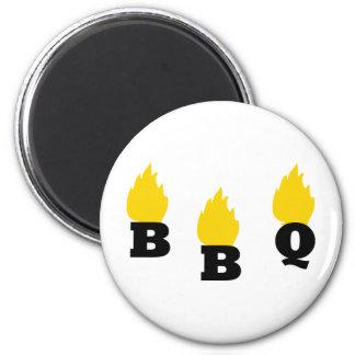 Bbq con el icono de las llamas imanes