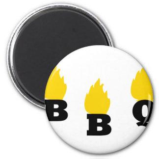 Bbq con el icono de las llamas imán redondo 5 cm