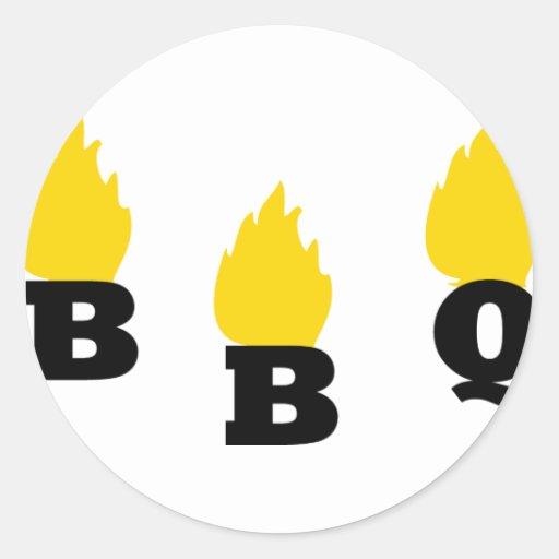 Bbq con el icono de las llamas pegatina redonda