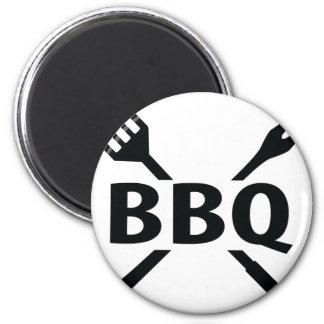 Bbq con el icono de los cubiertos imán de frigorifico