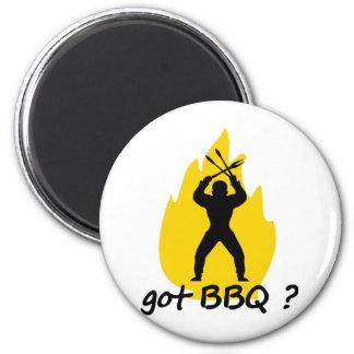 ¿Bbq conseguido? con el icono de la llama Imán Redondo 5 Cm
