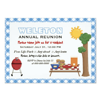 BBQ cookout family reunion, blue gingham border 5x7 Paper Invitation Card