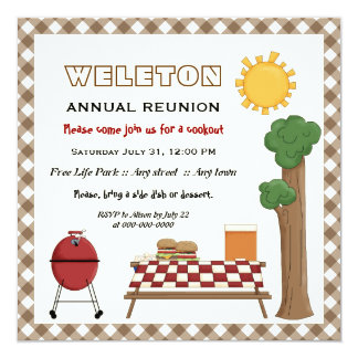 BBQ cookout family reunion, brown gingham border 5.25x5.25 Square Paper Invitation Card