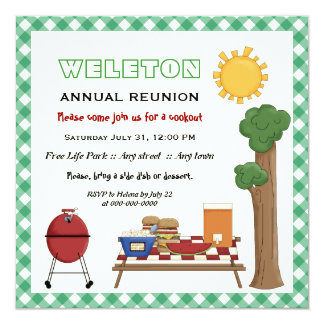 BBQ cookout family reunion, green gingham border 5.25x5.25 Square Paper Invitation Card