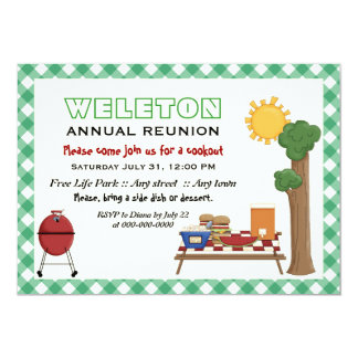BBQ cookout family reunion, green gingham border 5x7 Paper Invitation Card