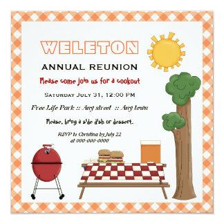 BBQ cookout family reunion, orange gingham border 5.25x5.25 Square Paper Invitation Card