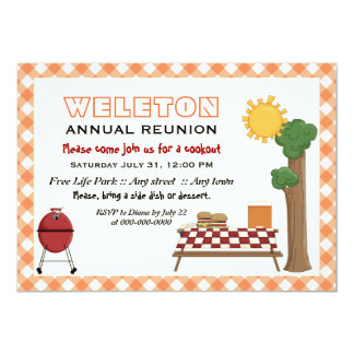 BBQ cookout family reunion, orange gingham border 5x7 Paper Invitation Card