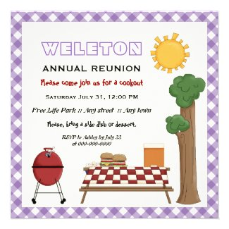 BBQ cookout family reunion, purple gingham border Personalized Invite