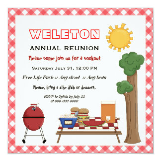 BBQ cookout family reunion, red gingham border Card