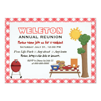 BBQ cookout family reunion, red gingham border 5x7 Paper Invitation Card