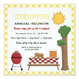 BBQ cookout family reunion, yellow gingham border 5.25x5.25 Square Paper Invitation Card