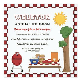 BBQ cookout picnic family reunion checkered border 5.25x5.25 Square Paper Invitation Card