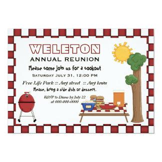 BBQ cookout picnic family reunion checkered border 5x7 Paper Invitation Card